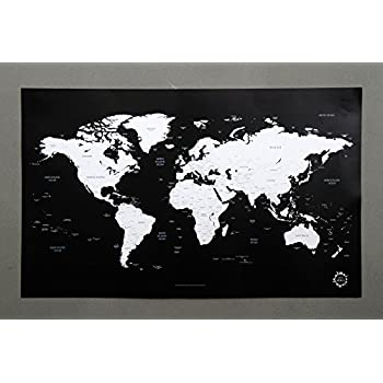 Amazon black and white world map unique design poster print black and white world map unique design poster print traveler gumiabroncs Images