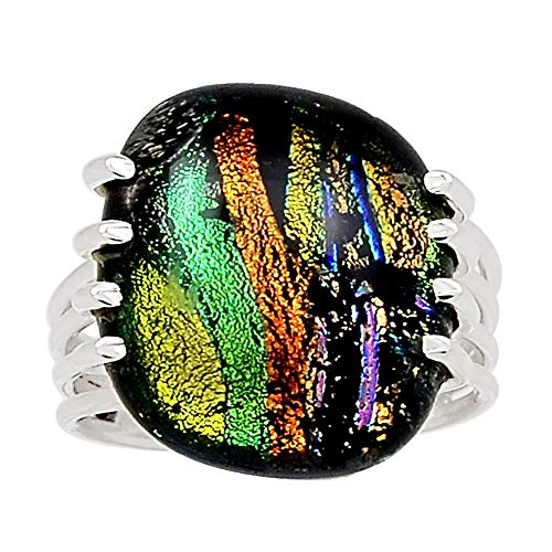 Dichroic Glass Ring - Xtremegems Dichroic Glass 925 Sterling Silver Ring Jewelry Size 10 27124R