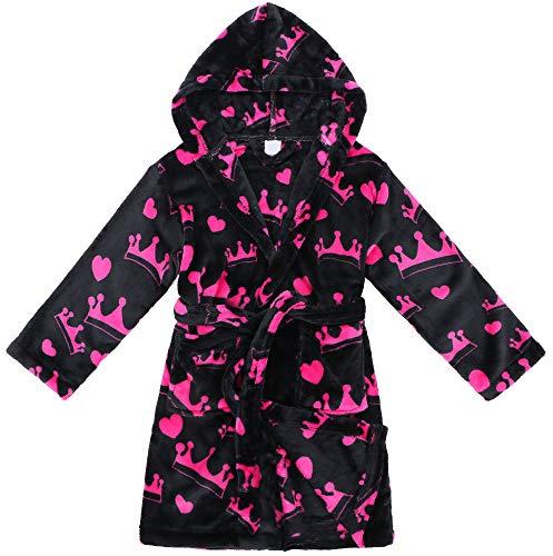 Verabella Boys Girls' Fleece Printed Hooded Beach Cover up Pool wrap,Crowns,L