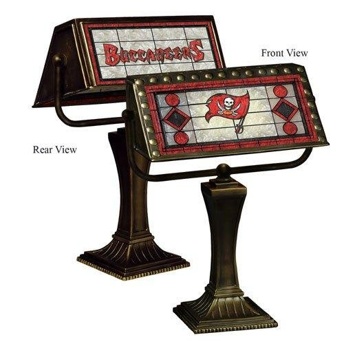 NFL Art Glass Banker's Table Lamp NFL Team: Tampa Bay Buccaneers (Lamps Art Table Nfl Glass)