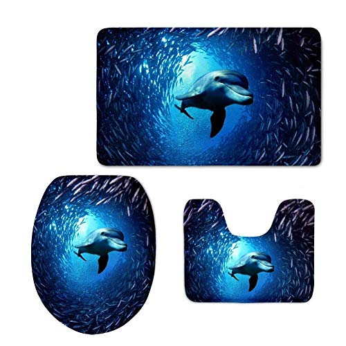 (Non Slip Door Mat Outdoor, Decorative Garden Office Bathroom Door Mat with Non Slip, Blue Printing Zoo Dolphin Toilet Seat Cover 3pcs/Set for Kitchen,Bath,Rug Indoor,Outdoor,Front Door,Bedroom,)
