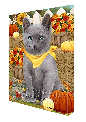 Doggie of the Day Fall Autumn Greeting Russian Blue Cat