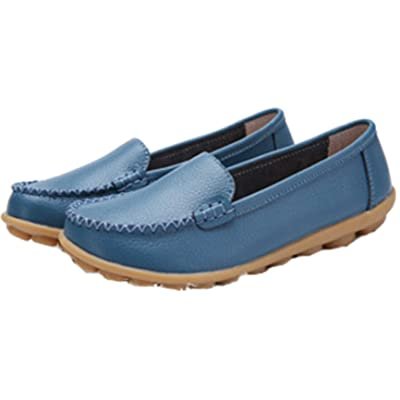 WenHong Womens Comfort Casual Flat Leather Work Walking Moccasin Shoes Loafers Flats: Clothing