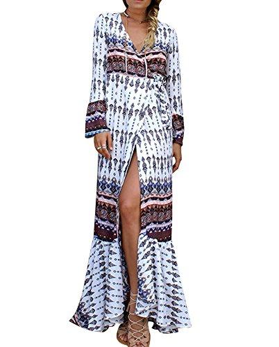 Minetom Mujeres Vestido Largo Túnica de Casual Elegante Suelto Bohemia Floral con Cuello en V Manga Larga Maxi Sundress de Playa StyleA
