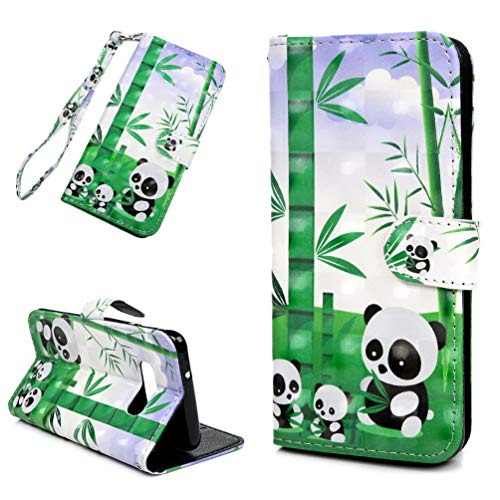 Galaxy S10 Lite Case, Wallet Flip Folio Case Kickstand Card Slots Wrist String 3D Effect Colorful PU Leather Wallet Shockproof TPU Bumper Shell Protective Cover for Samsung Galaxy S10 Lite - Panda