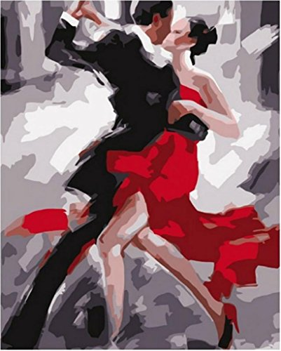 Diy oil painting, paint by number kit- Tango dancers couple 16*20 inch.