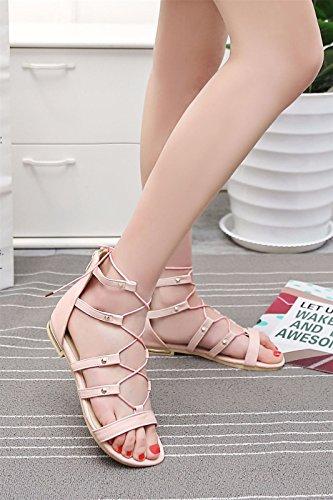 La de astilleros grandes Sandalias fondo de Moda mujer de zapatos plano mujer romanas sandalias de ayuda alto correa Pink sandalias Sandalias Zapatillas mujer wCqRHx6YC