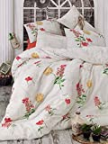 GOLD CASE Ranforce Series Comforter set (including comforter)- Holly (Red) - International Double Size - Made in Turkey - 100% cotton / 5 pieces - Original and unique Item