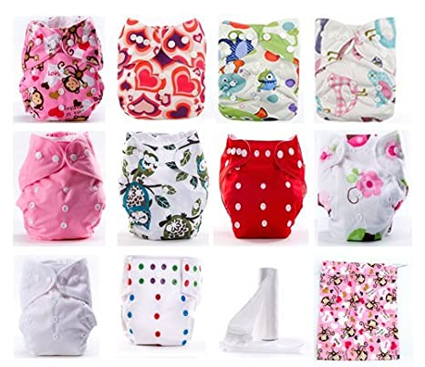 Pack de 10 Pañales de Tela Reutilizables Lavables para Niña + 10 Absorbentes de Bambú + Rollito Protectores + Bolsa Guardapañales + Caja Regalo: Amazon.es: ...