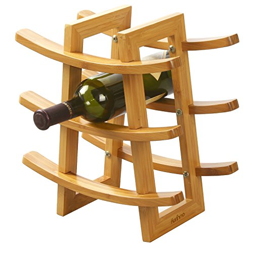 FURINNO Dapur Bamboo 9-Bottle Wine Rack, Natural