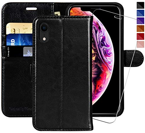 iPhone XR Wallet Case,6.1-inch,MONASAY [Glass Screen Protector Included] Flip Folio Leather Cell Phone Cover with Credit Card Holder for Apple iPhone XR ()
