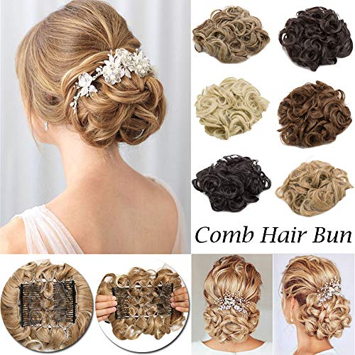 Extension Easy Stretch Hair Dish Chignon Scrunchy Updo Donut Wedding Hairpieces Combs Clip in Ponytail Trap Ponytail(Coffee Brown Mix Bleach Blonde) ()