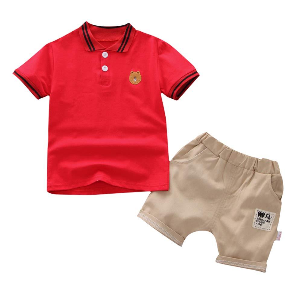SZBYKJ Kids Boys Tracksuits Sportwear Summer Cute Bear Embroidery Shirt + Shorts 2pcs/Set red 90 by SZBYKJ