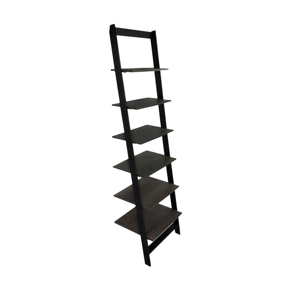 KennynElvis 6-Tier Wall Stand Ladder Bookcase (Black Steel)