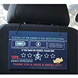Rating Tips Accessories Rideshare Driver Signs – Large 9x6 Inch Premium Thick Laminate 20 Mil Durable Backseat Headrest Display Card (Pack of 2) – All You Need for Your Business