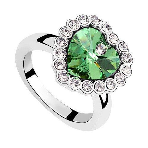 plateado elementos de Swarovski Crystal Diamond Accent forma de corazón Eternidad Compromiso Anillos de Boda para