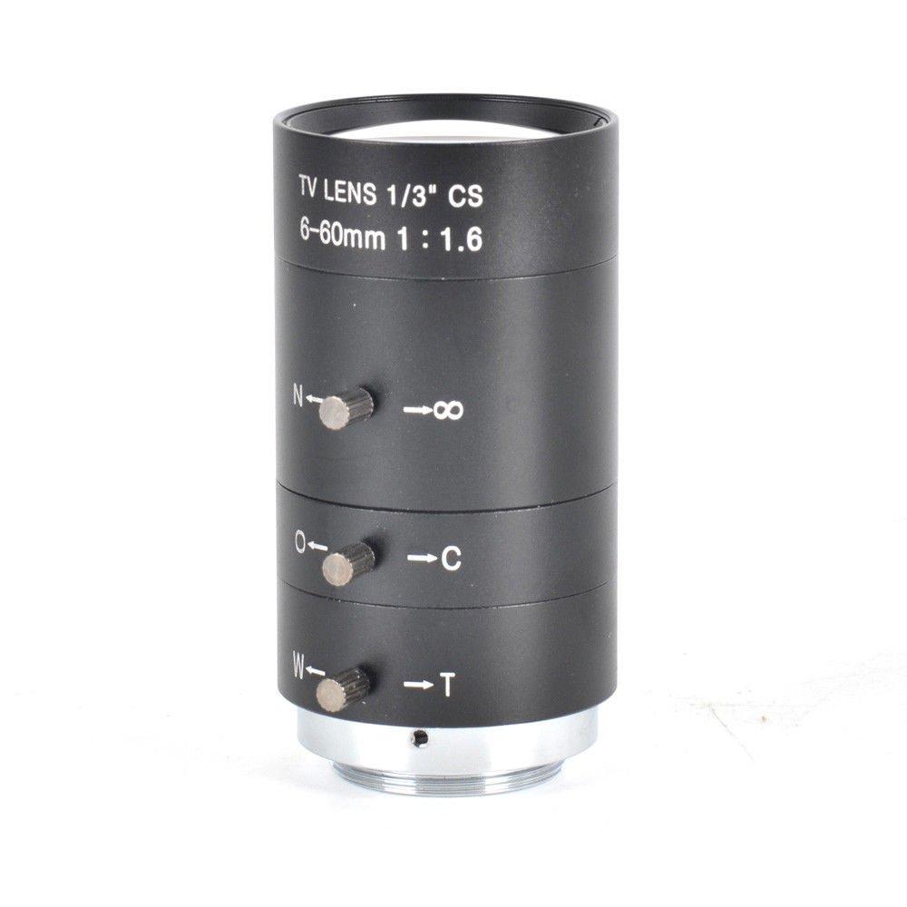 Inesun 6-60mm 1/3'' CS Lens CCTV Lens IR F1.6 Manual Zoom Manual Iris for CCTV CCD Camera