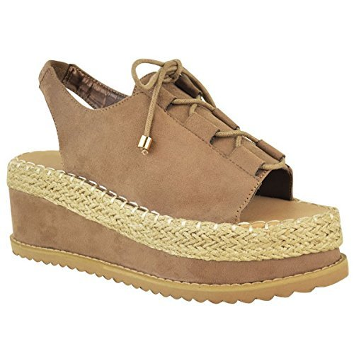 Damen Mokka Damen Espadrille Flatform Lace Schuhe Knöchelriemen Up Keilabsatz Wildleder Sandalen Größe Faux SxddvwXr