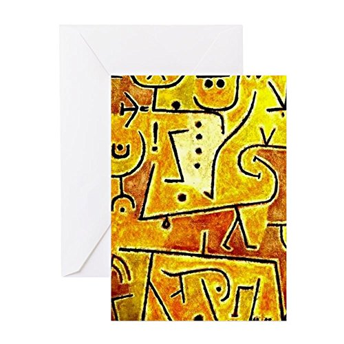 CafePress Klee: Red Waistcoat, Abstract Art Pa Greeting Card, Note Card, Birthday Card, Blank Inside Matte ()