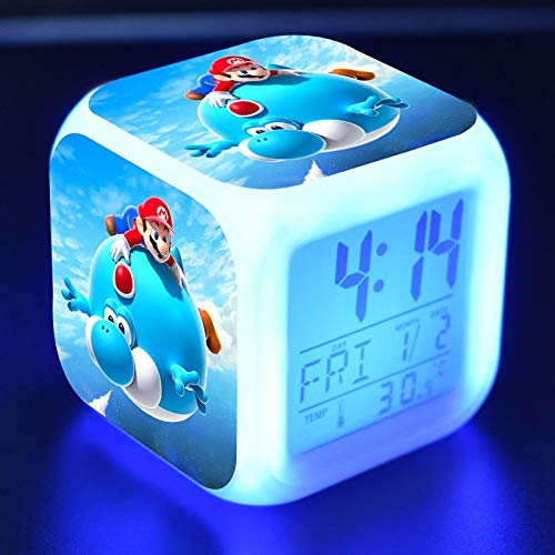 Amazon.com: PampasSK Action & Toy Figures - Super Mario Bros Anime Figure Juguetes Alarm Clock PVC Colorful Touch Light Super Mario Yoshi Game Character ...