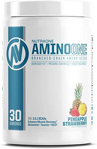 AminoOne BCAA Powder Supplement by NutraOne Branched Chain Amino Acids to Help Fuel and Recover Pineapple Strawberry- 30 Servings