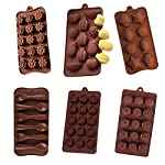 6 Pack nonstick value pack molds of Rose and Camellia, Multi Fruits, seashell, Spoon, Delicate Rose and Sunflower Silicone baking molds for Candy Chocolate Soap (Ships From USA)