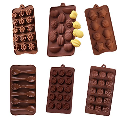 (6 Pack nonstick value pack molds of Rose and Camellia, Multi Fruits, seashell, Spoon, Delicate Rose and Sunflower Silicone baking molds for Candy Chocolate Soap (Ships From USA))