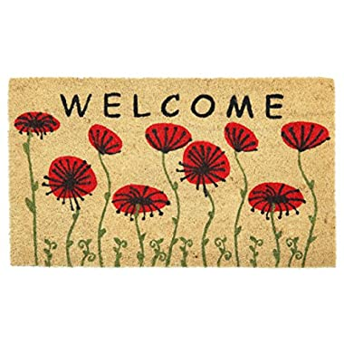 Floral Welcome 2  Doormat by Castle Mats, Size 18 x 30 inches, Non-Slip, Durable, Made Using Odor-Free Natural Fibers
