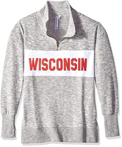chicka-d University of Wisconsin Ladies Quarter Zip Sweater/Pullover/Sweatshirt - Wisconsin Badgers Women's Apparel