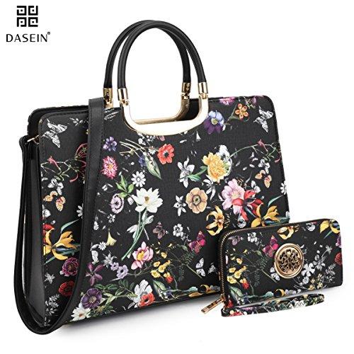 Flower Satchel Handbags (Dasein Designer Purse Flower Satchel Handbag PU Leather Purse Top Handle Handbags (XL2828 2PCs- Black Flower))