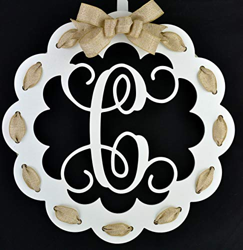 - Letter C - Monogrammed Door Hanger | Mom Gift | White and Burlap Everyday Year Letter Door Hanger