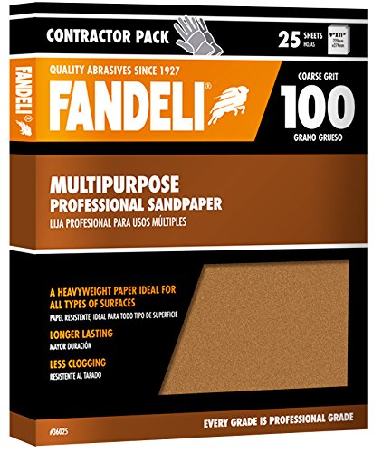 Fandeli 36025 100 Grit Multipurpose Sandpaper Sheets, 9''  x 11'', 25-Sheet by Fandeli