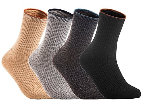 Lian LifeStyle Women's 4 Pairs Wool Blend Crew Socks HR1612B-5 Casual Solid Size 6-9 Casual (No - Black Sales Do Stores Designer Have Friday