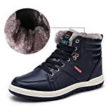 Mens Leather Snow Boots Lace Up Ankle Sneakers High Top Winter Shoes With Fur Lining(blue 45) | amazon.com