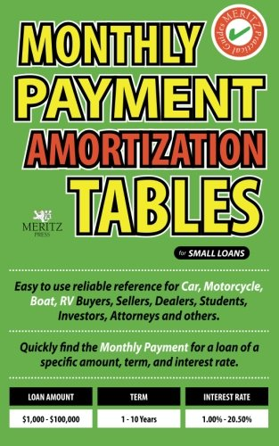 Monthly Payment Amortization Tables for Small Loans: Simple and easy to use reference for car and home buyers and sellers, students, investors, car ... a specific amount, term, and interest rate.