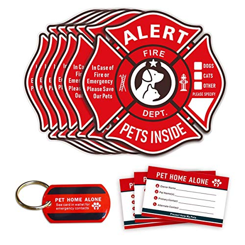 - Pet Alert Stickers Static Cling Window Decals Emergency Pets Rescue Sign (6 Pack) with Bonus: Pet Home Alone Wallet Card & Key Tag - NO Adhesive, Removable, UV Resistant