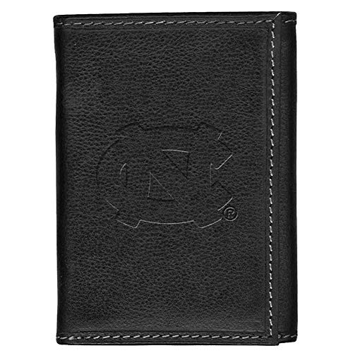 North Carolina Tarheels UNC Leather Tri-Fold Wallet Black Trifold