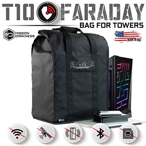 Mission Darkness T10 Faraday Bag for Computer Towers - Device Shielding for Law Enforcement, Military, Executive Privacy, EMP Protection, Travel & Data Security, Anti-hacking & Anti-tracking Assurance