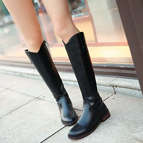 Long With TAOFFEN Boots Black Zipper Women's gqZ51B