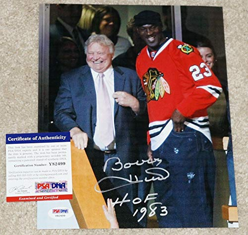 BOBBY HULL Signed BLACKHAWKS 8x10 photo + COA Y82499 w/MICHAEL JORDAN - PSA/DNA Certified - Autographed NBA Photos