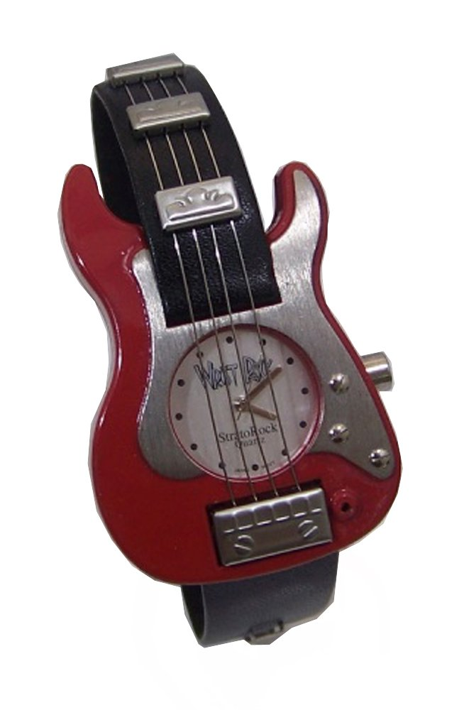 WristRock Guitar Watch Red Silver Fender Strat Style Novelty Wrist Rock Wristwatch by WristRock