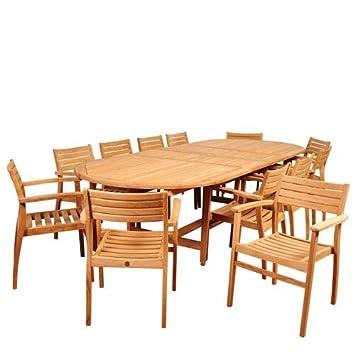 Bon Mondavi 13 Pc Teak Double Extendable Oval Dining Set