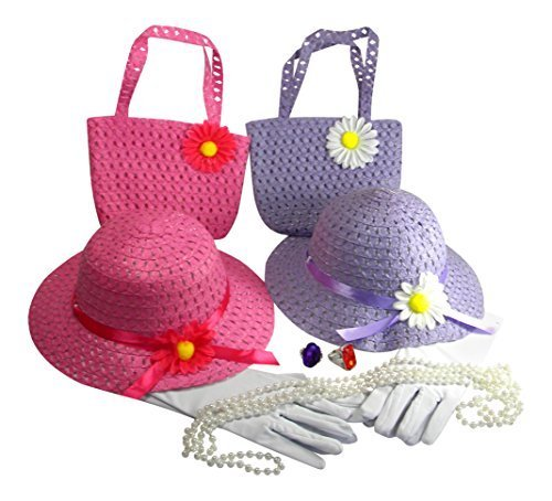 Butterfly Twinkles Girls Tea Party Dress Up Play Set For 2 with Pink and Purple Sun Hats Purses White Gloves Plastic Pearl Necklaces and Rings by