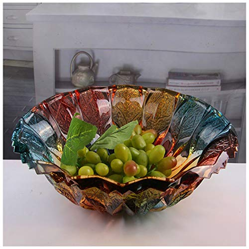 Fruit Bowls Fruit Storage 24% Lead Crystal Fusion 30cm Bowl Large Crystal Fruit Bowl/Salad Bowl/Centerpiece Fruit Plate Fruit Plates (color : - Basket Crystal 24% Lead