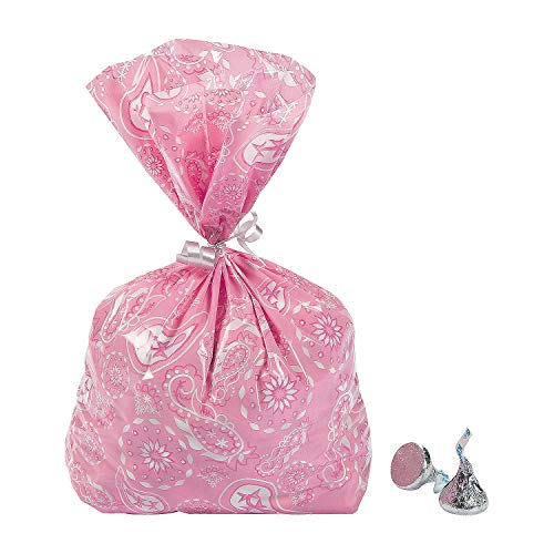 Fun Express - Pink Cowgirl Cellophane Bags for Birthday - Party Supplies - Bags - Cellophane Bags - Birthday - 12 Pieces ()