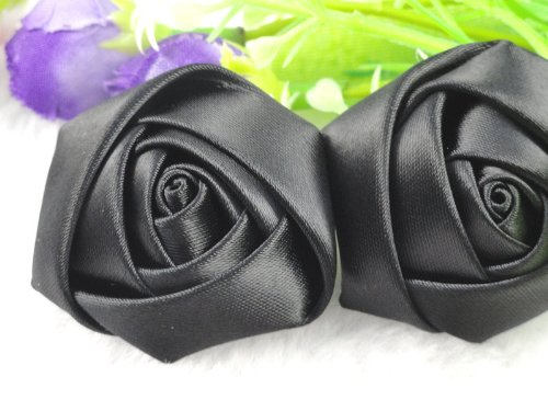YAKA 20pcs Handmade stereo Fabric Rose Flowers for DIY Headdress Flowers Headbands Clips ,Rose Wedding Decor Hair Bow Appliques Craft Sewing Accessories (Black)