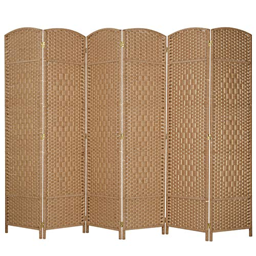 MyGift 6-Panel Woven Beige Wicker Room Divider with Two-Way Hinges (Wicker Room Screens Divider)