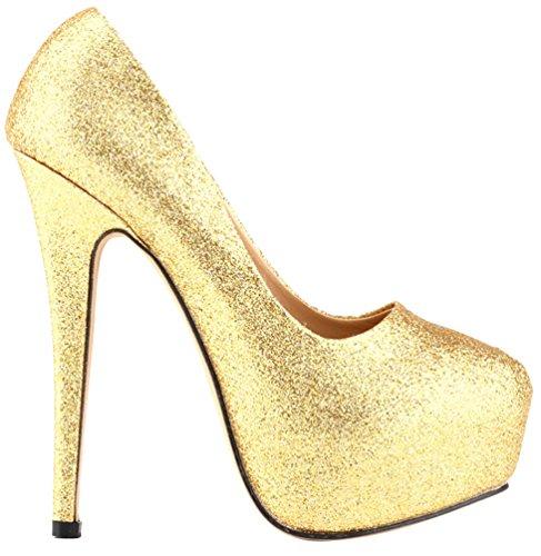 Cfp Donna Scarpe Gold Plateau Con 6a6Rr