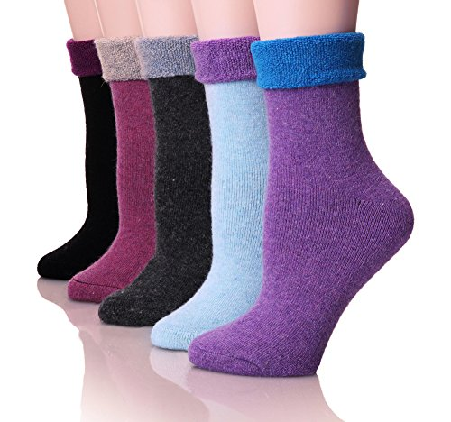 Socks Thermal Womens (EBMORE Women's Super Thick Crew Winter Socks 5 Pack (Dark Series),Free size)