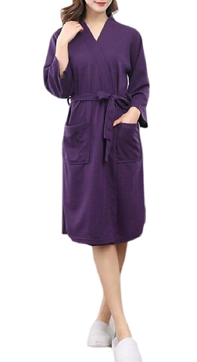 CBTLVSN Mens Lounge Waffle Bathing Home Wear Solid Color Robe Thin Robes